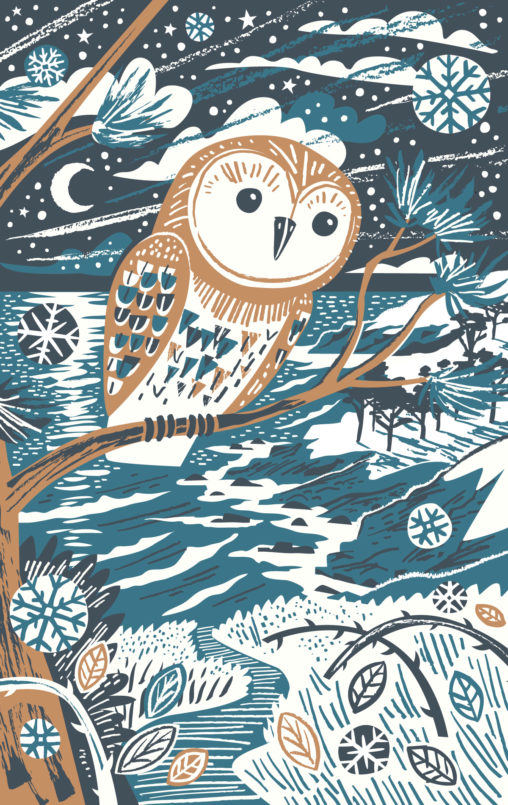 Winter Owl illustration - teatowel print by Matt Johnson