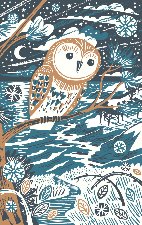 Winter Owl illustration - teatowel print by Matt Johnson