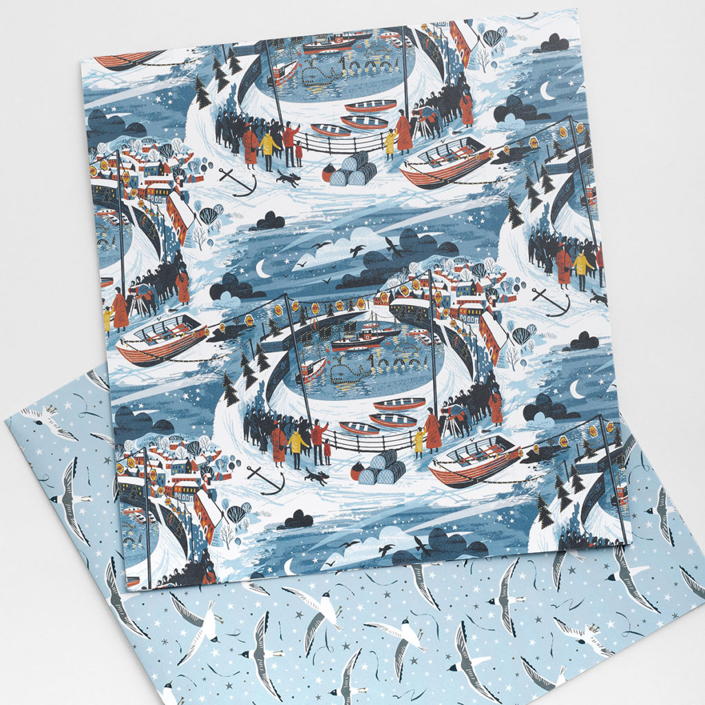 Mousehole Lights illustration wrapping paper by Matt Johnson for Seasalt Cornwall
