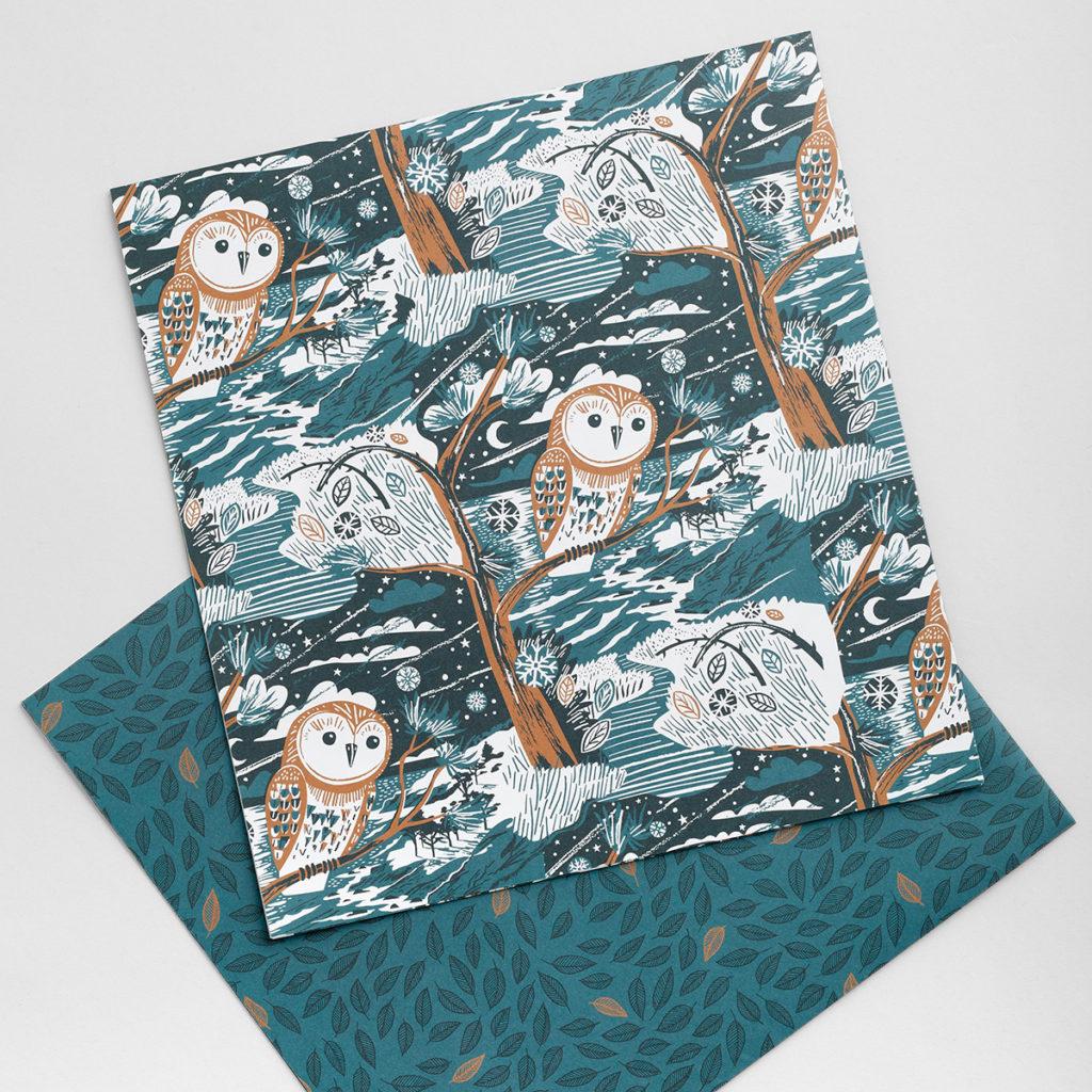 Winter owl illustration wrapping paper by Matt Johnson for Seasalt Cornwall