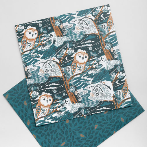 Winter owl illustration wrapping paper by Matt Johnson for Seasalt Cornwall