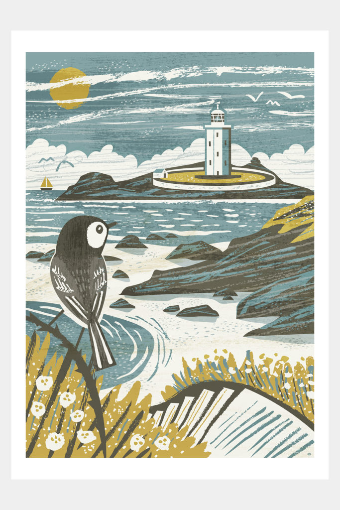 Godrevy Lighthouse and wagtail print by Matt Johnson