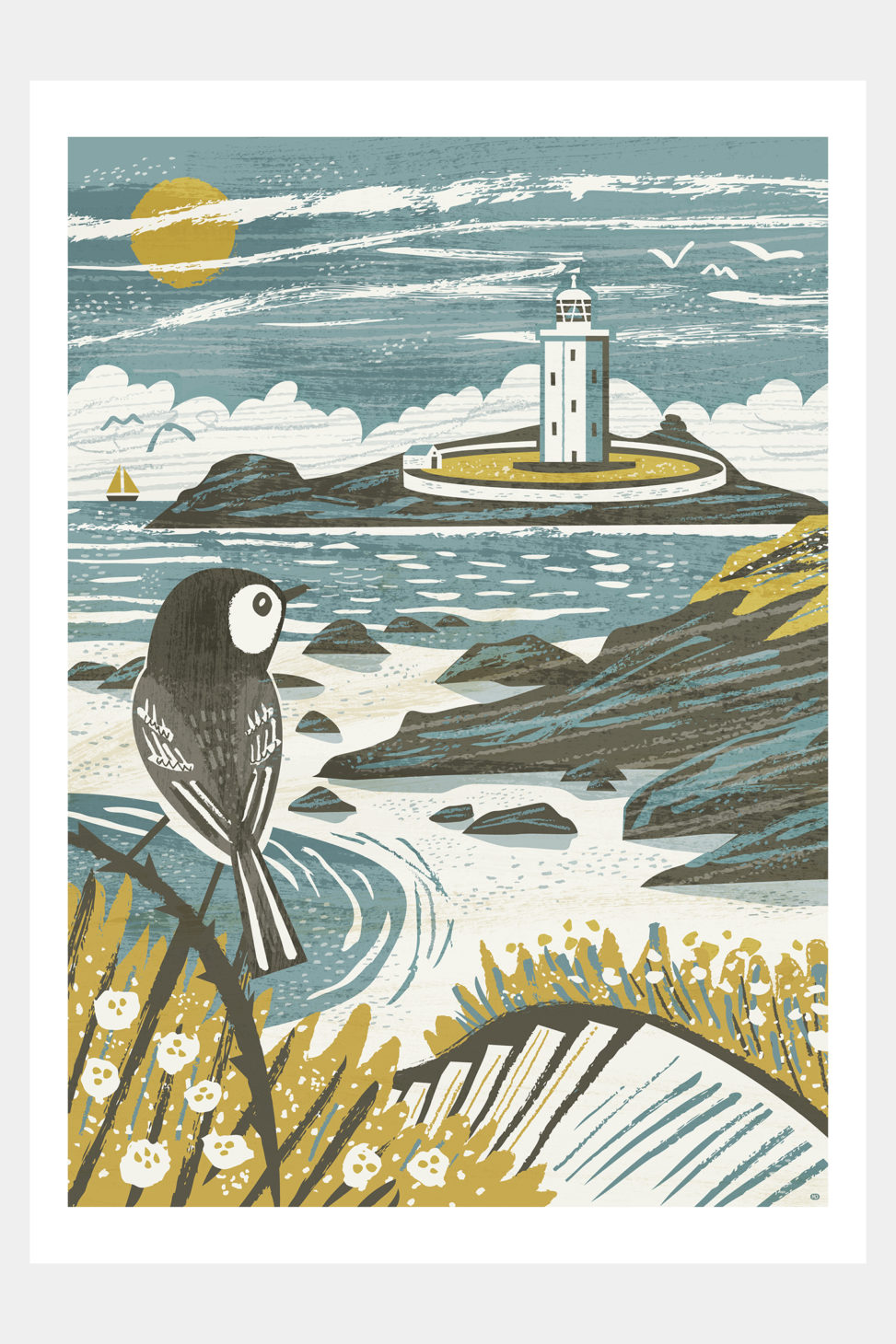 Godrevy Lighthouse and wagtail - print by Matt Johnson for Seasalt Cornwall