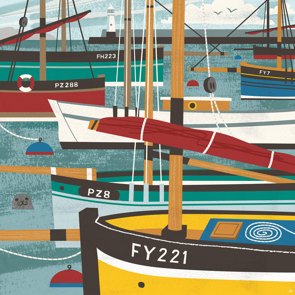 Mevagissey luggers illustration by Matt Johnson