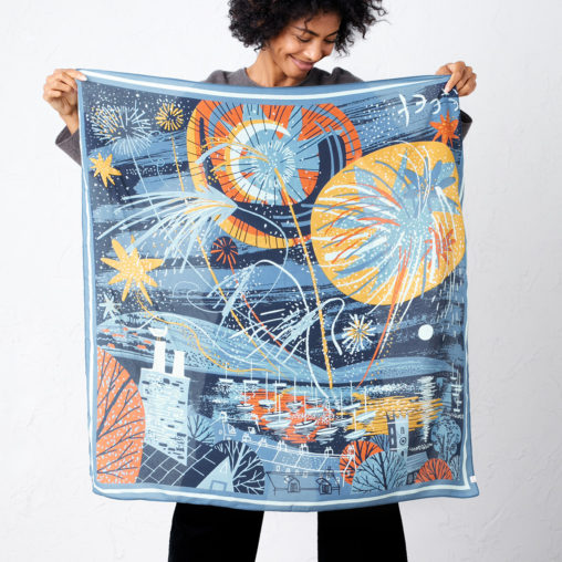 Falmouth Fireworks scarf print by Matt johnson for Seasalt Cornwall