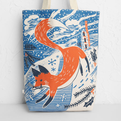 Fox in the snow canvas tote bag print by Matt Johnson