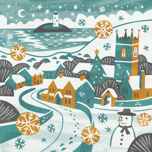 Gwithian snowman illustration by Matt Johnson