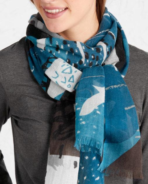 Blue nautical abstract scarf print by Matt Johnson