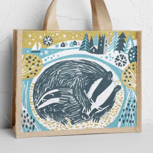 Snoozing badgers jute tote bag print by Matt Johnson