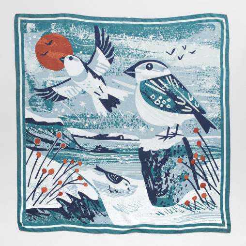 Maenporth Snow Buntings Illustration Scarf Print by Matt Johnson for Seasalt Cornwall
