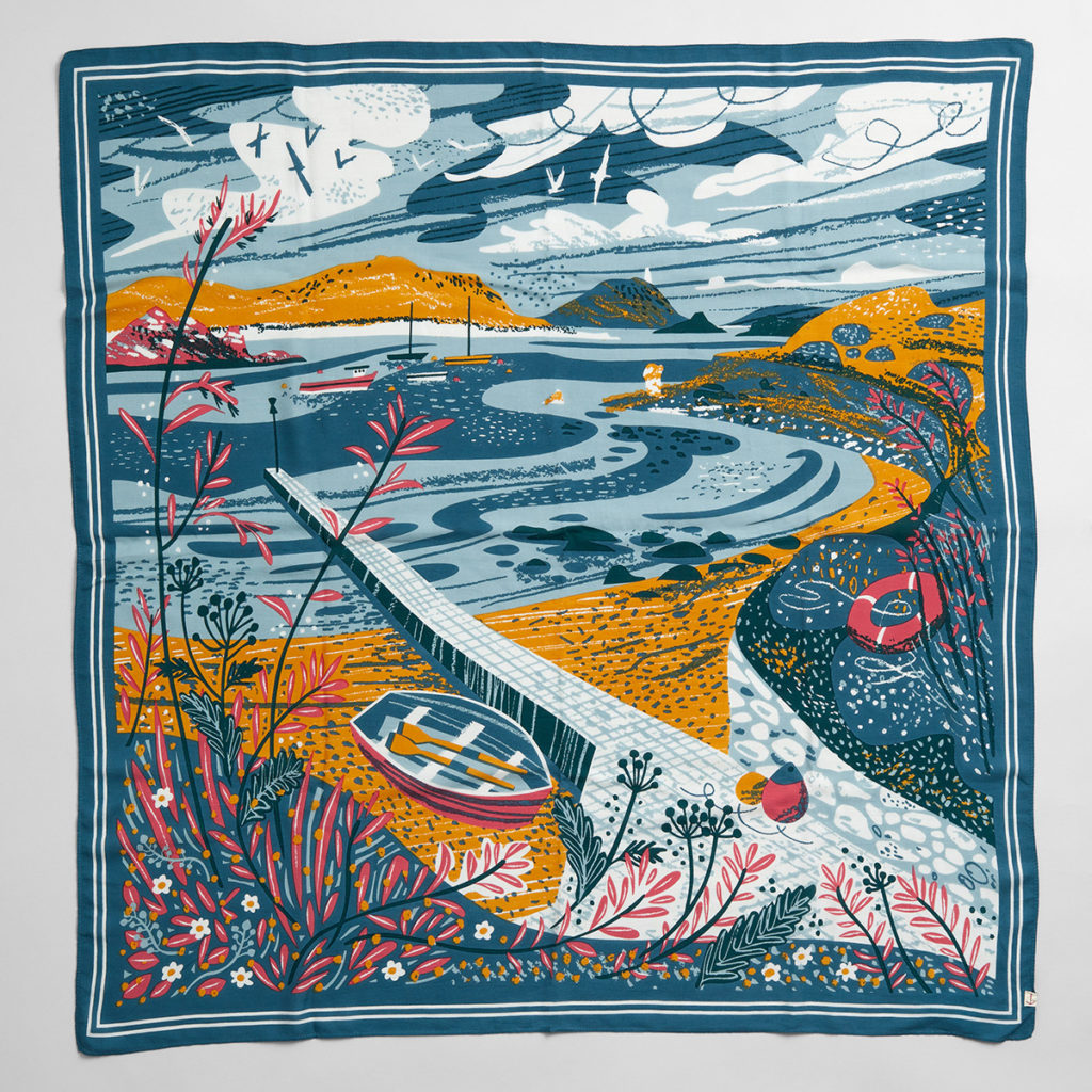 Taen Sound Isles of Scilly scarf print by Matt Johnson
