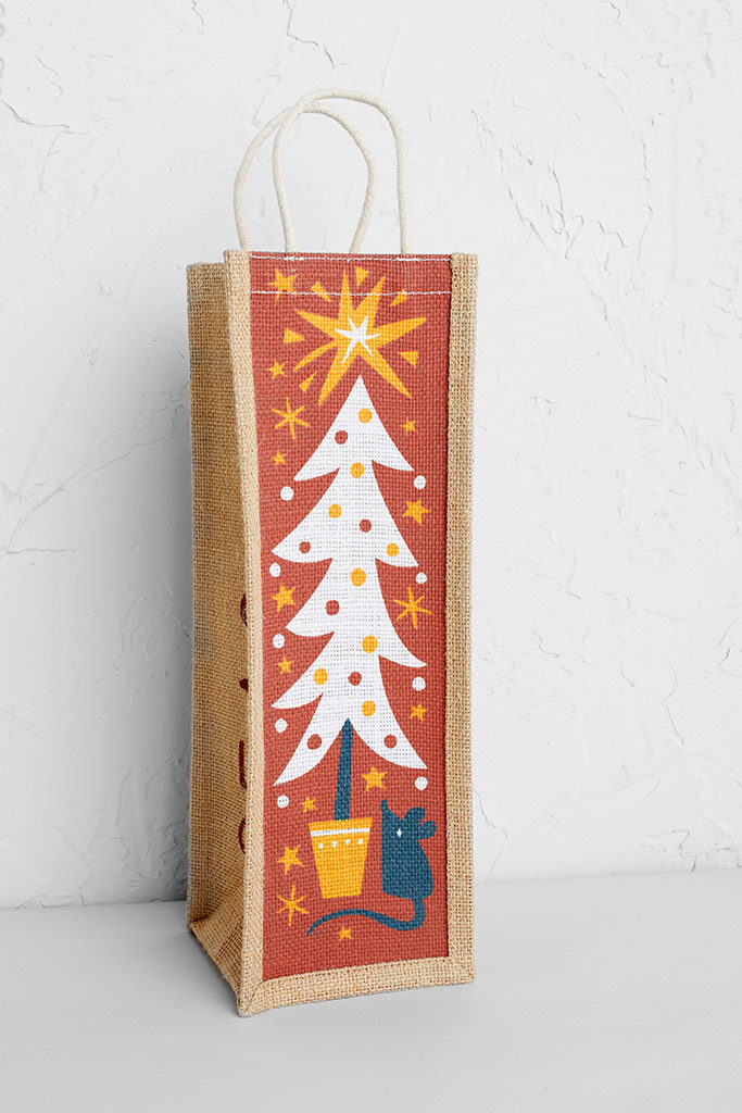 Mouse and Christmas Tree Wine Jute Bag Print by Matt Johnson