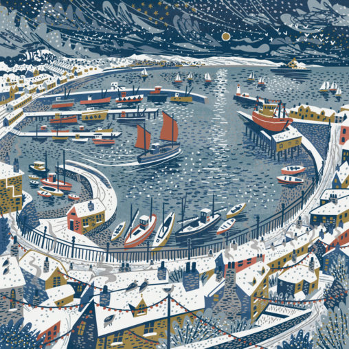 Newlyn Harbour in the snow illustration by Matt Johnson