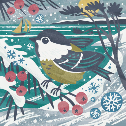 Winter coal tit illustration by Matt Johnson for Seasalt Cornwall