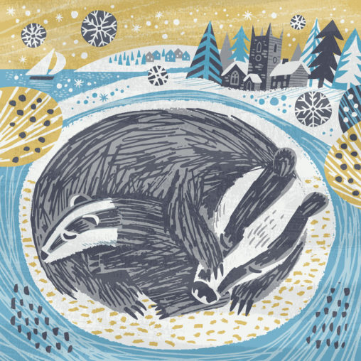 Snoozing badgers Christmas greeting card illustration by Matt Johnson