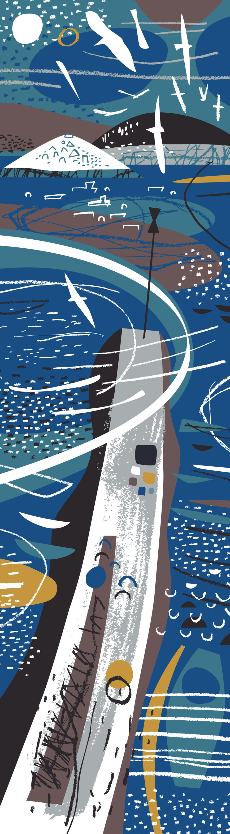Lower Town Quay Scilly abstract scarf print by Matt Johnson