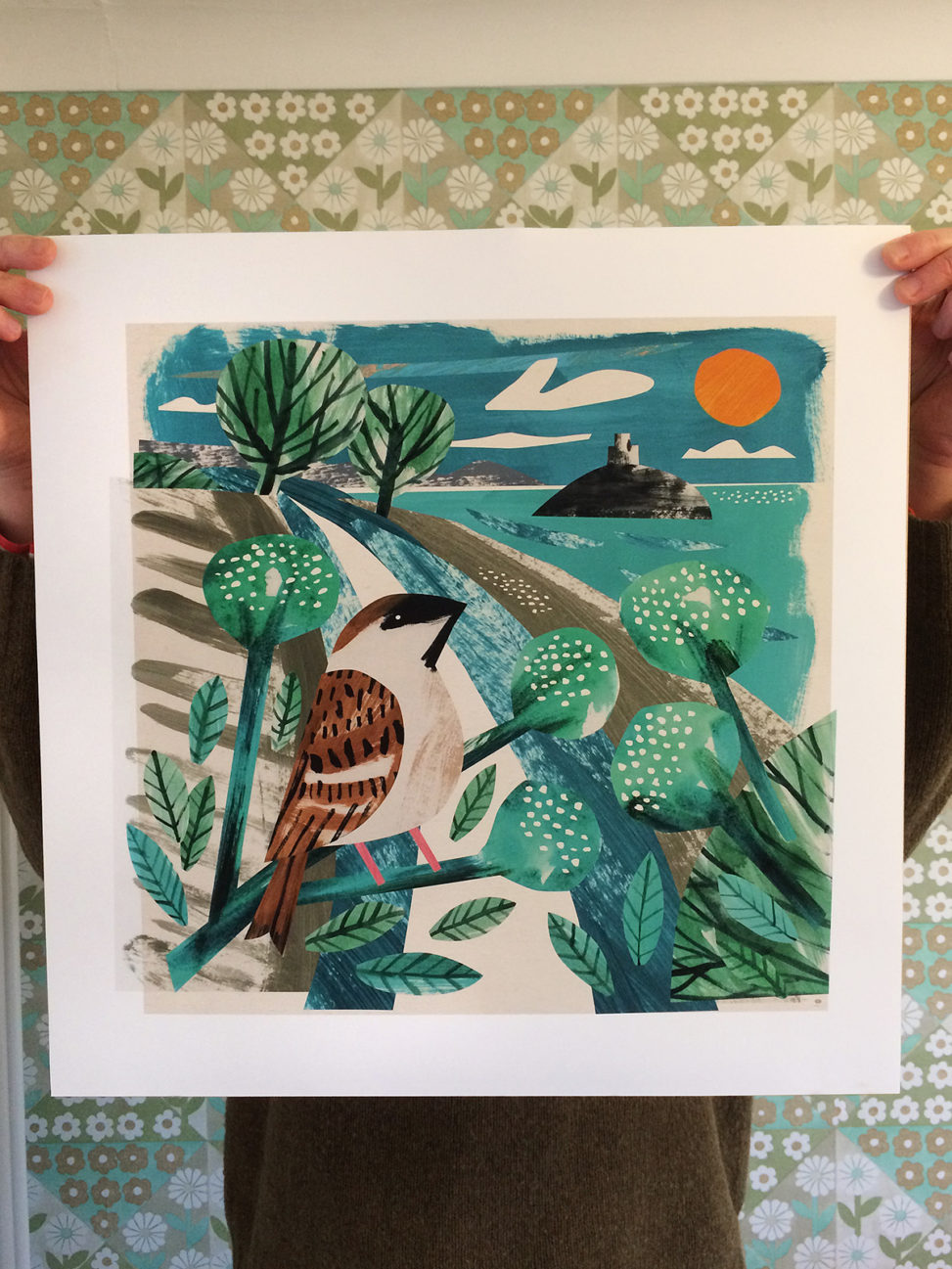 Mount's bay sparrow, cornwall art print by Matt Johnson
