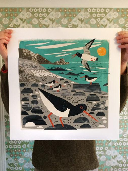 St Loy Cove pystercatchers, Cornwall art print by Matt Johnson