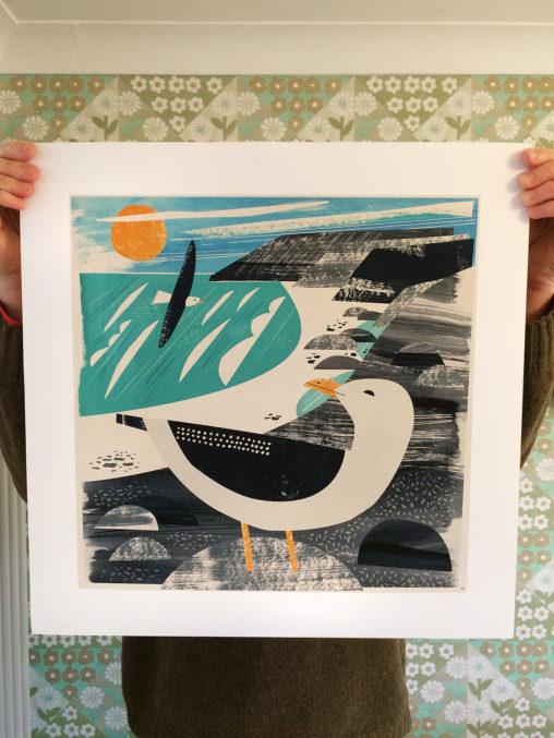 Treen gull cornwall art print by Matt Johnson