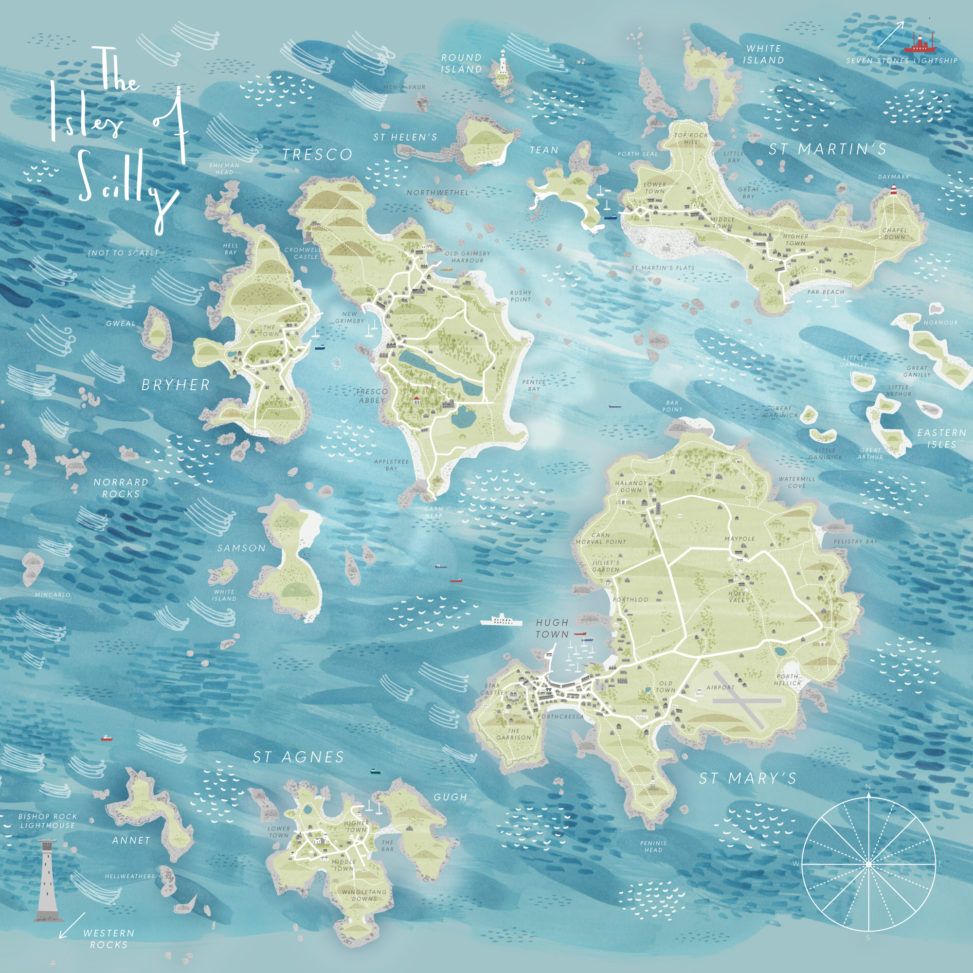 Isles of Scilly illustrated map by Matt Johnson