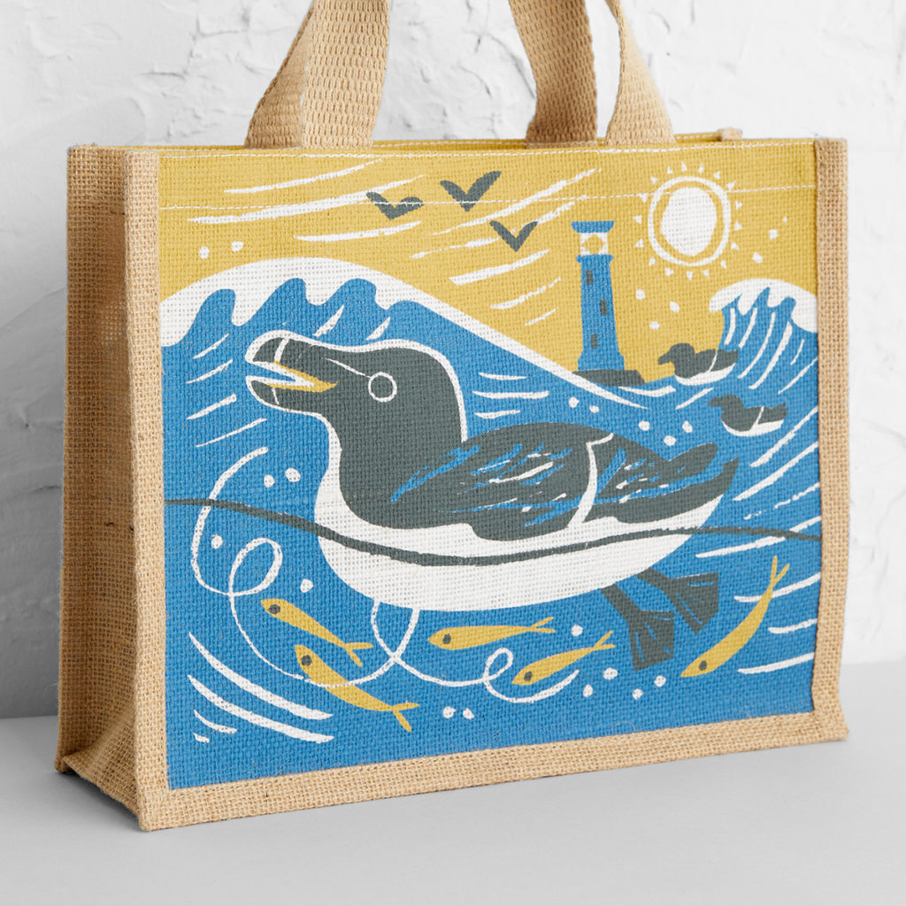Razorbills, Isles of Scilly tote bag print by Matt Johnson at Seasalt Cornwall