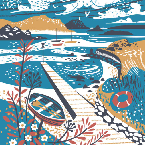 Tean Sound, Lower Town Quay, St Martin's, Round Island Lighthouse, Isles of Scilly - Illustration by Matt Johnson at Seasalt Cornwall