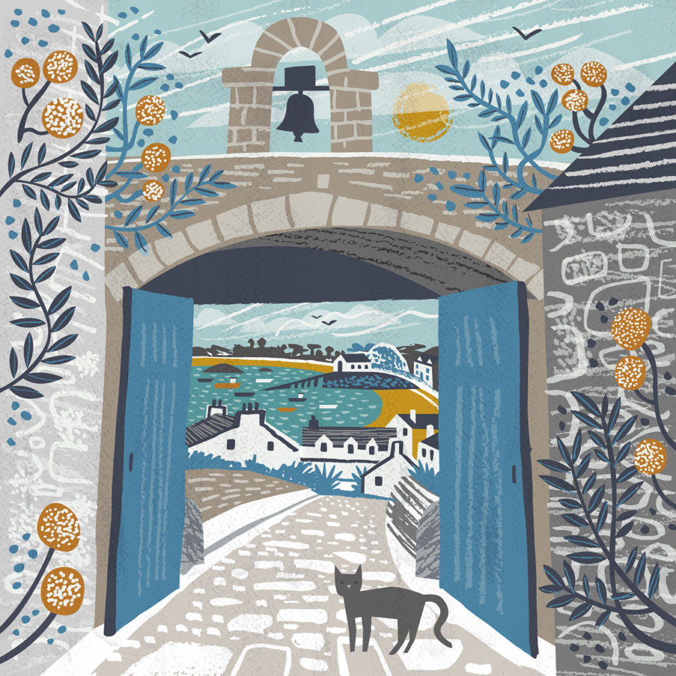 Garrison Gate, St Mary's, Isles of Scilly greetings card - illustration by Matt Johnson for Seasalt Cornwall