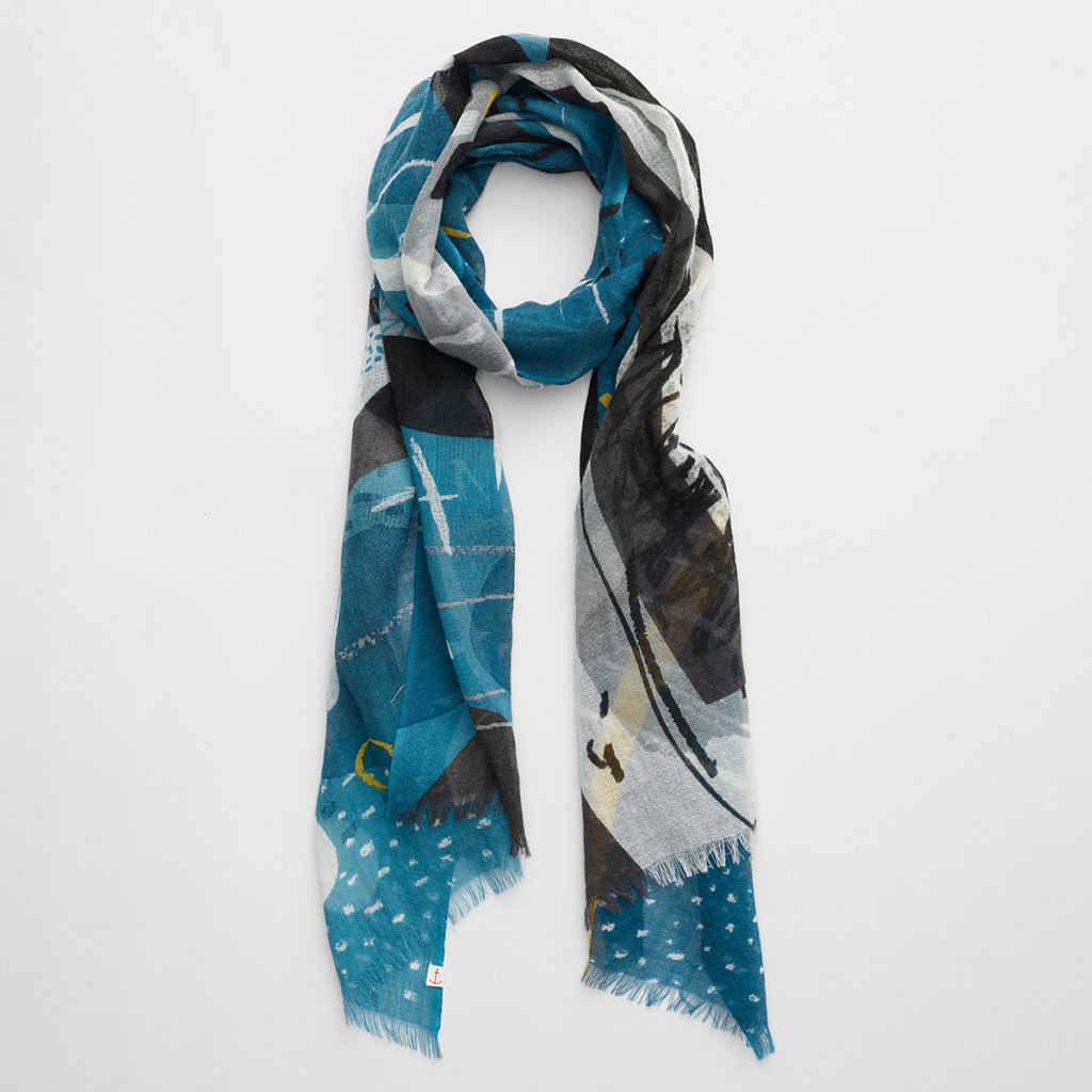 Nautical / abstract neck scarf print by Matt Johnson. Inspired by the view from Lower Town Quay on St Martin's, Isles of Scilly.