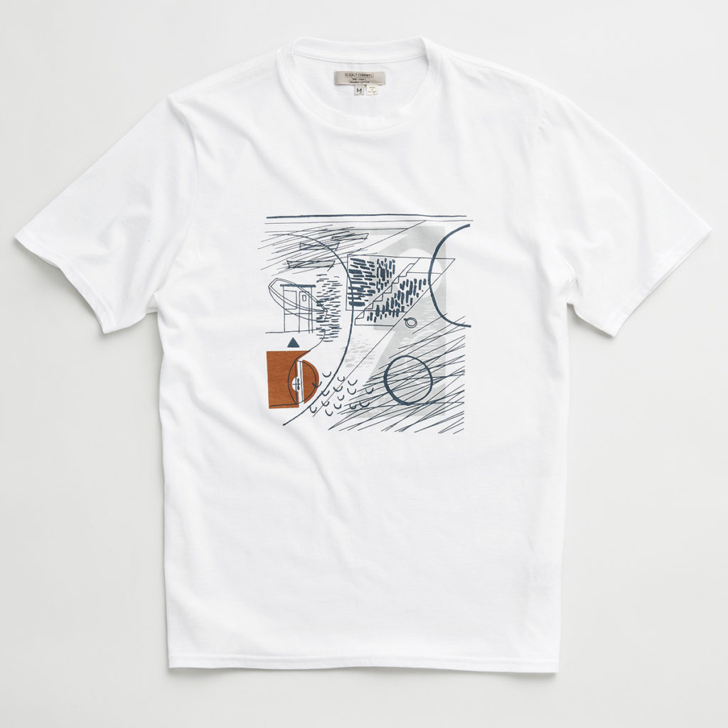 Abstract illustration of Falmouth Quay with fishing boats and stone steps by Matt Johnson for a Seasalt Cornwall T-shirt print.