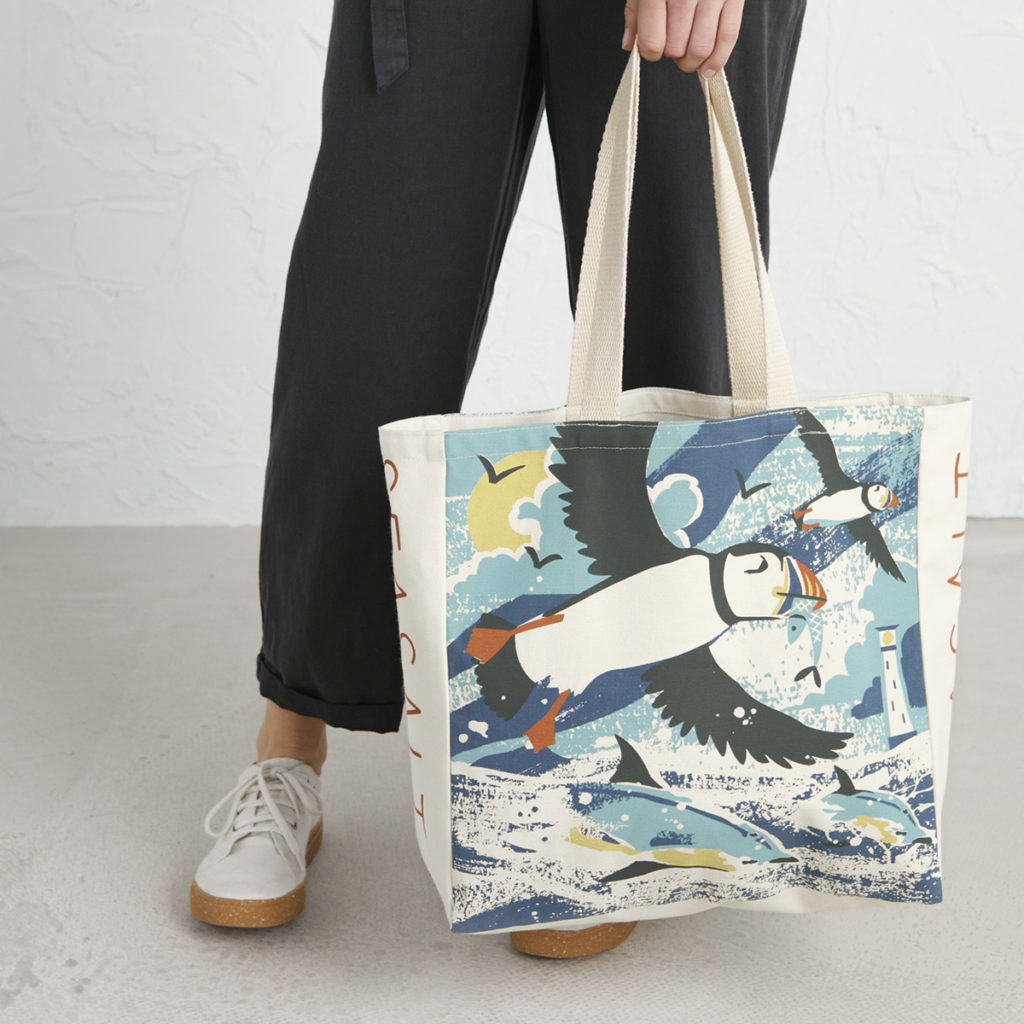 Puffins and dolphins beach bag by Matt Johnson for Seasalt Cornwall