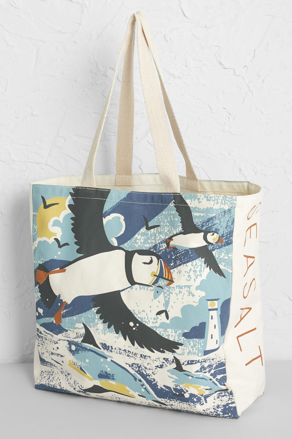 Puffins and Dolphins beach bag - print designed by Matt Johnson for Seasalt Cornwall