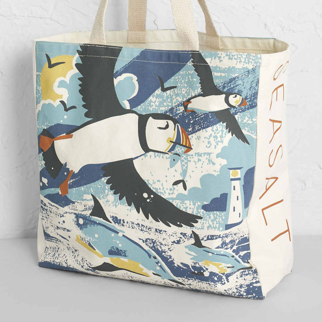 Puffins and Dolphins with Bishop Rock Lighthouse, Isles of Scilly - illustration by Matt Johnson for Seasalt Cornwall canvas beach bag