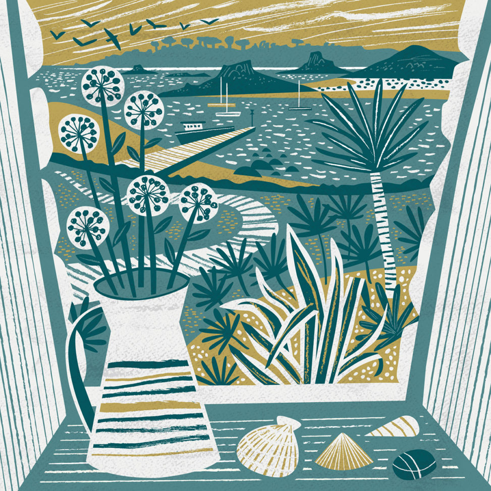 Lower Town Window, St Martin's, Isles of Scilly greetings card - illustration by Matt Johnson for Seasalt Cornwall