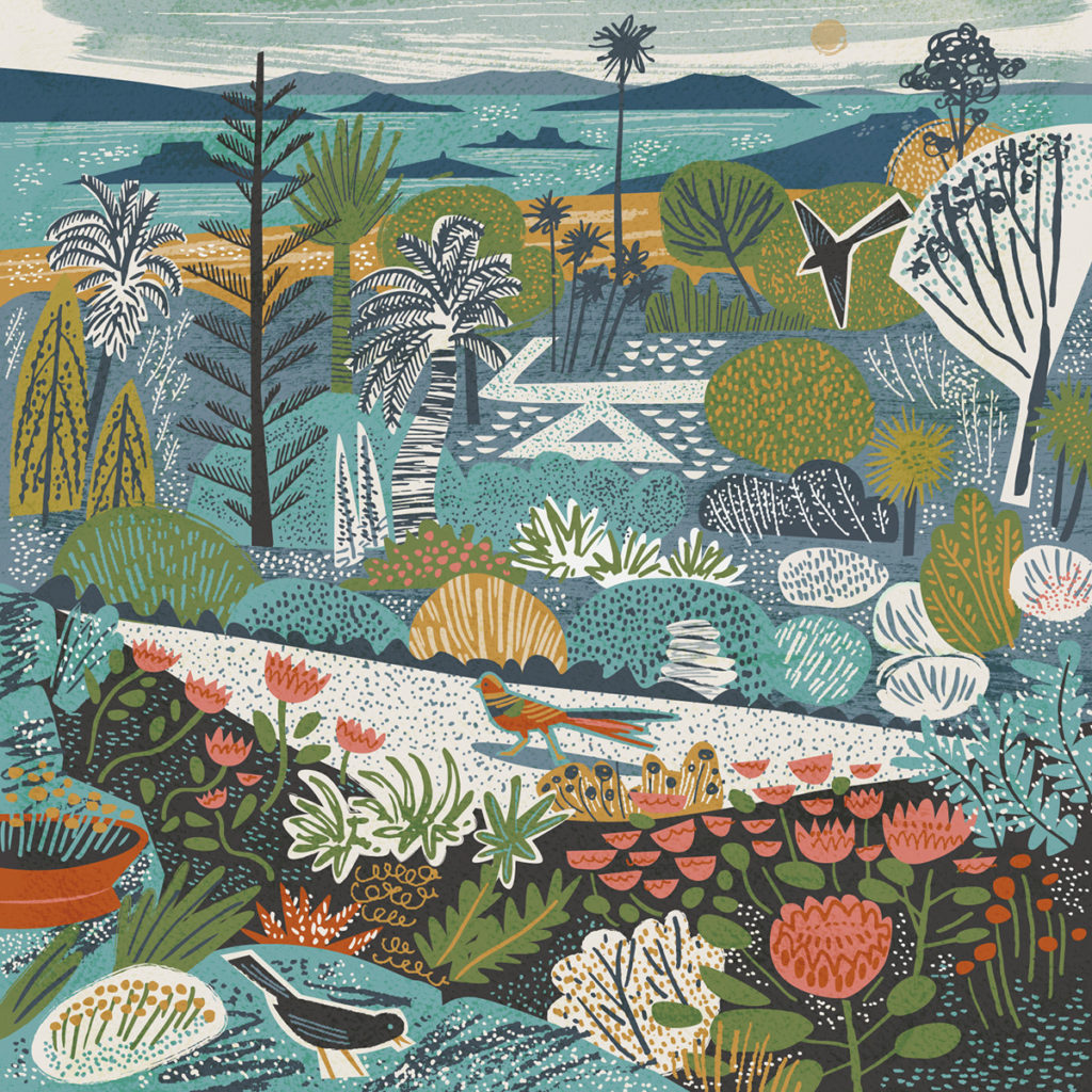 Tresco Abbey Gardens, Isles of Scilly Greetings Card - illustration by Matt Johnson for Seasalt Cornwall