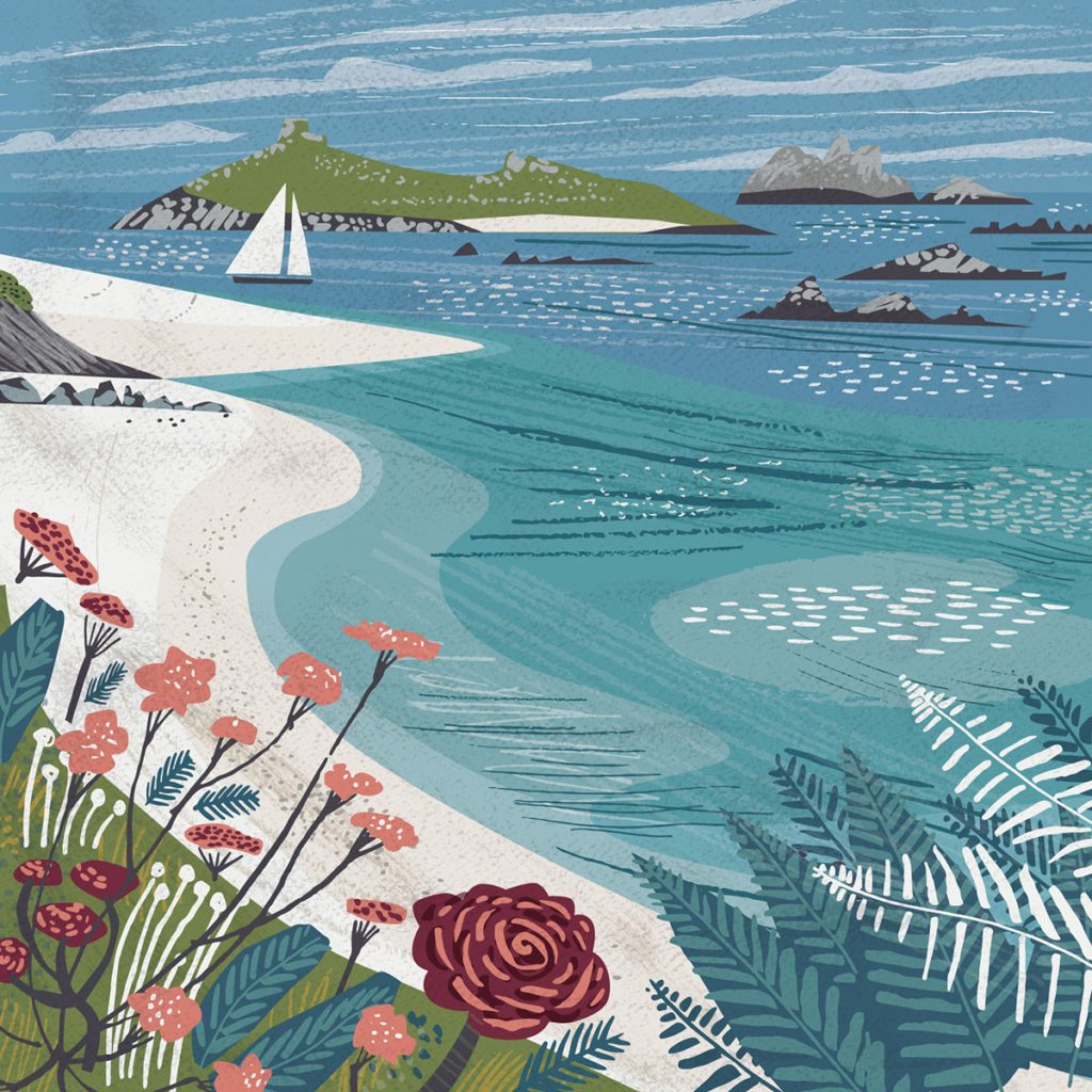 Rushy Point, Tresco, Isles of Scilly Greetings Card - Illustration by Matt Johnson for Seasalt Cornwall