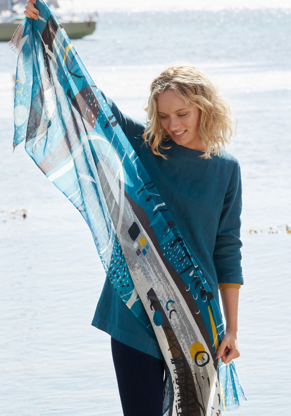 Isles of Scilly abstract printed scarf by Matt Johnson for Seasalt Cornwall