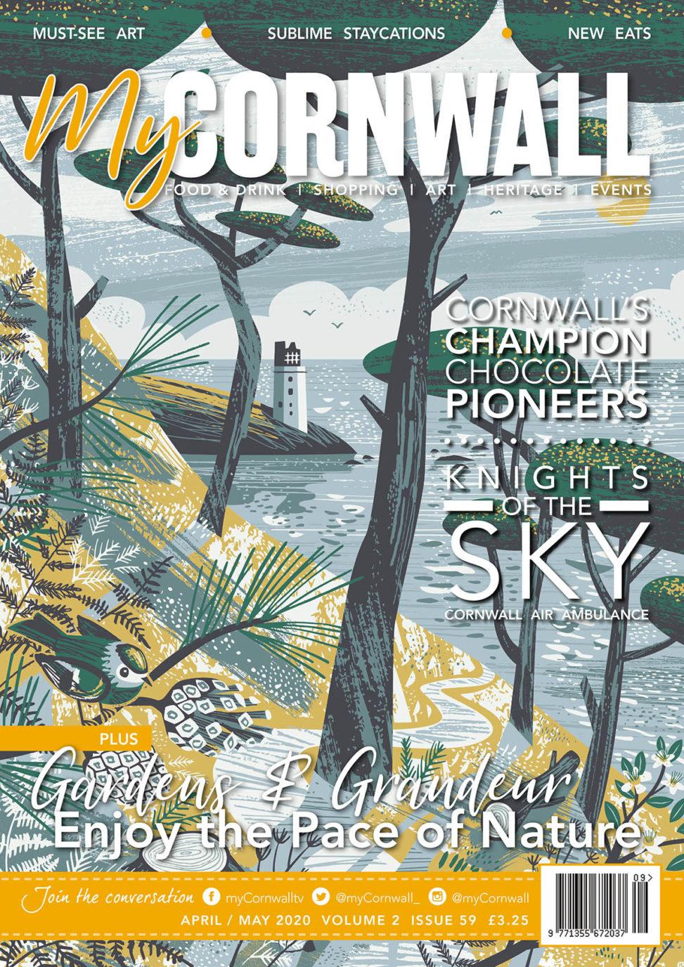 MyCornwall Magazine Cover April 2020 with St Anthony Lighthouse illustration by Matt Johnson