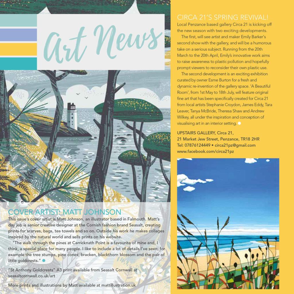 MyCornwall magazine cover feature on illustrator Matt Johnson
