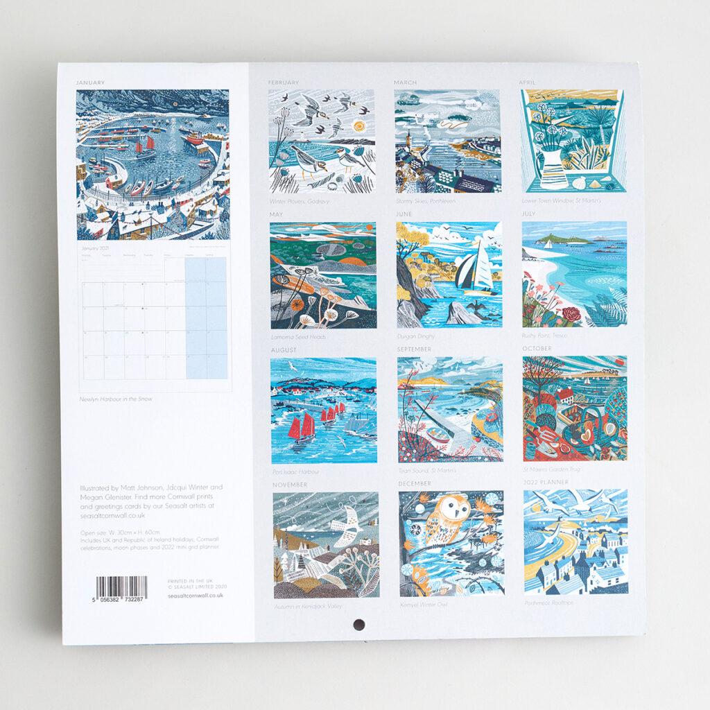 Seasalt Cornwall calendar 2021 - illustrations of Cornish views
