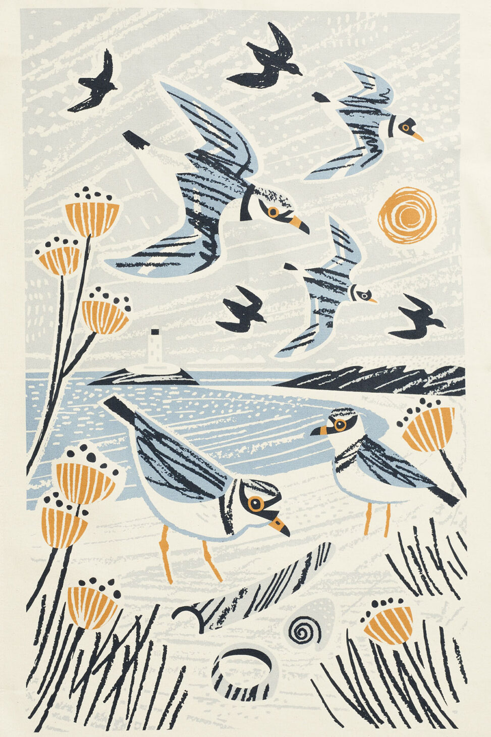 Godrevy Lighthouse WInter Plovers Cornwall Tea Towel Print. Illustration by Matt Johnson