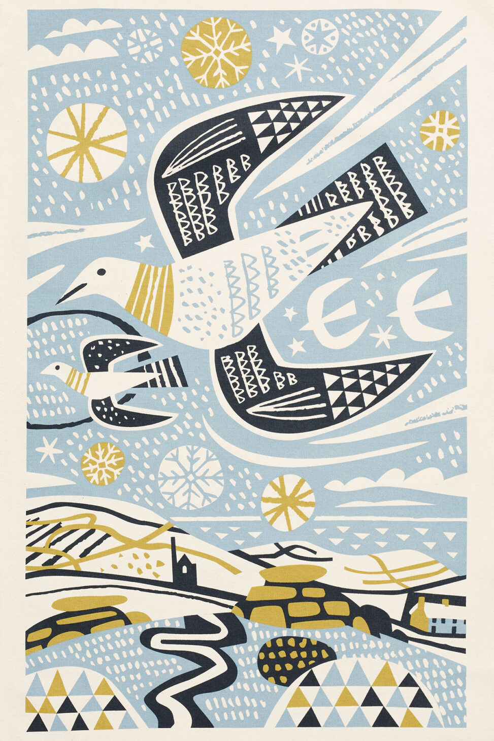 Mid-century style printed tea towel of birds flying over Lelant Downs, Cornwall by Matt Johnson