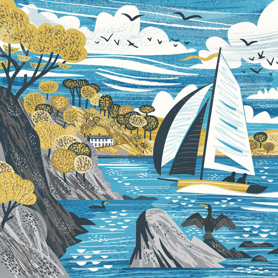 View of Sailing Dinghy and Durgan from Polgwidden Beach on the Helford River bt Matt Johnson