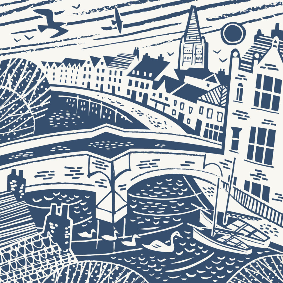 Norwich illustration - Fye Bridge and River Wensum by Matt Johnson
