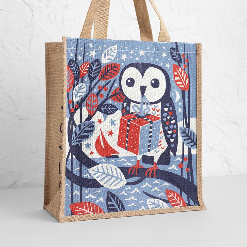 Gift owl jute tote bag by Matt Johnson