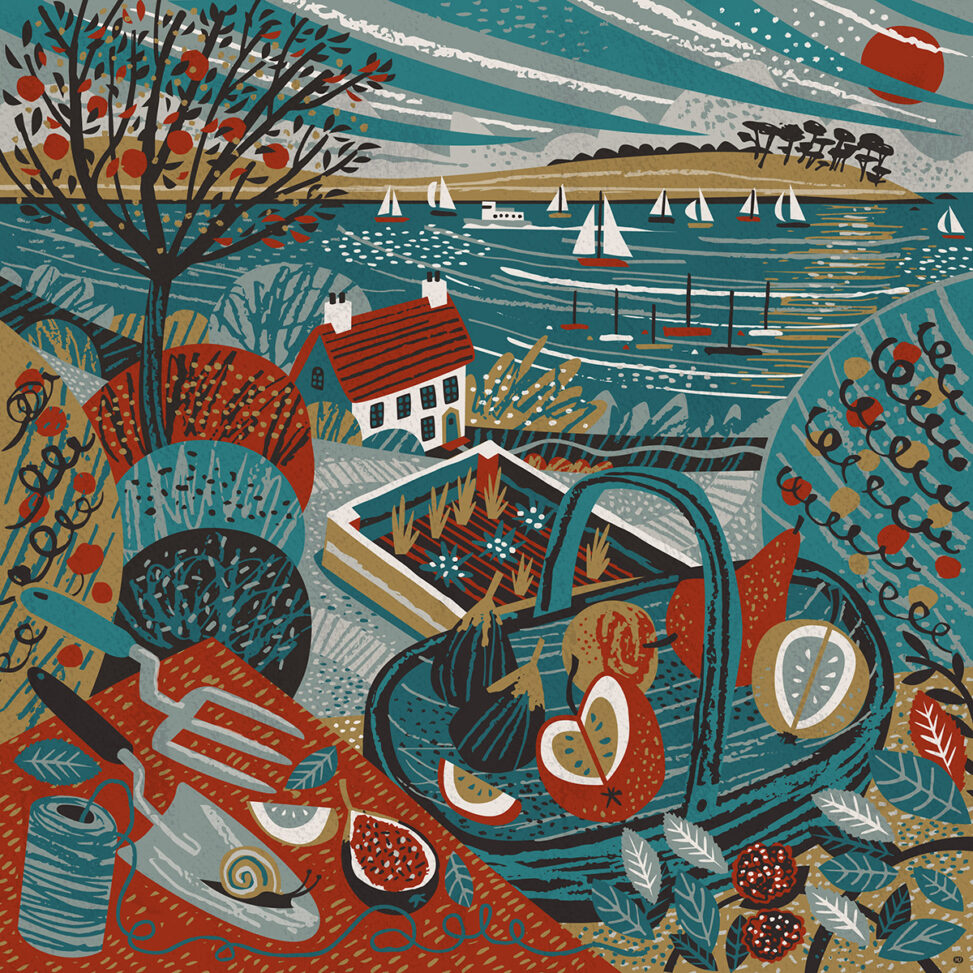 St Mawes Cornish Garden Illustration by Matt Johnson