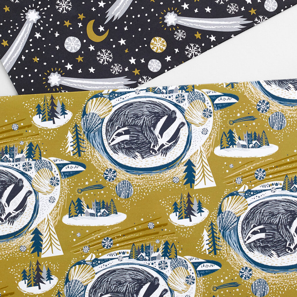 Snoozing Badgers wrapping paper designed by Matt Johnson