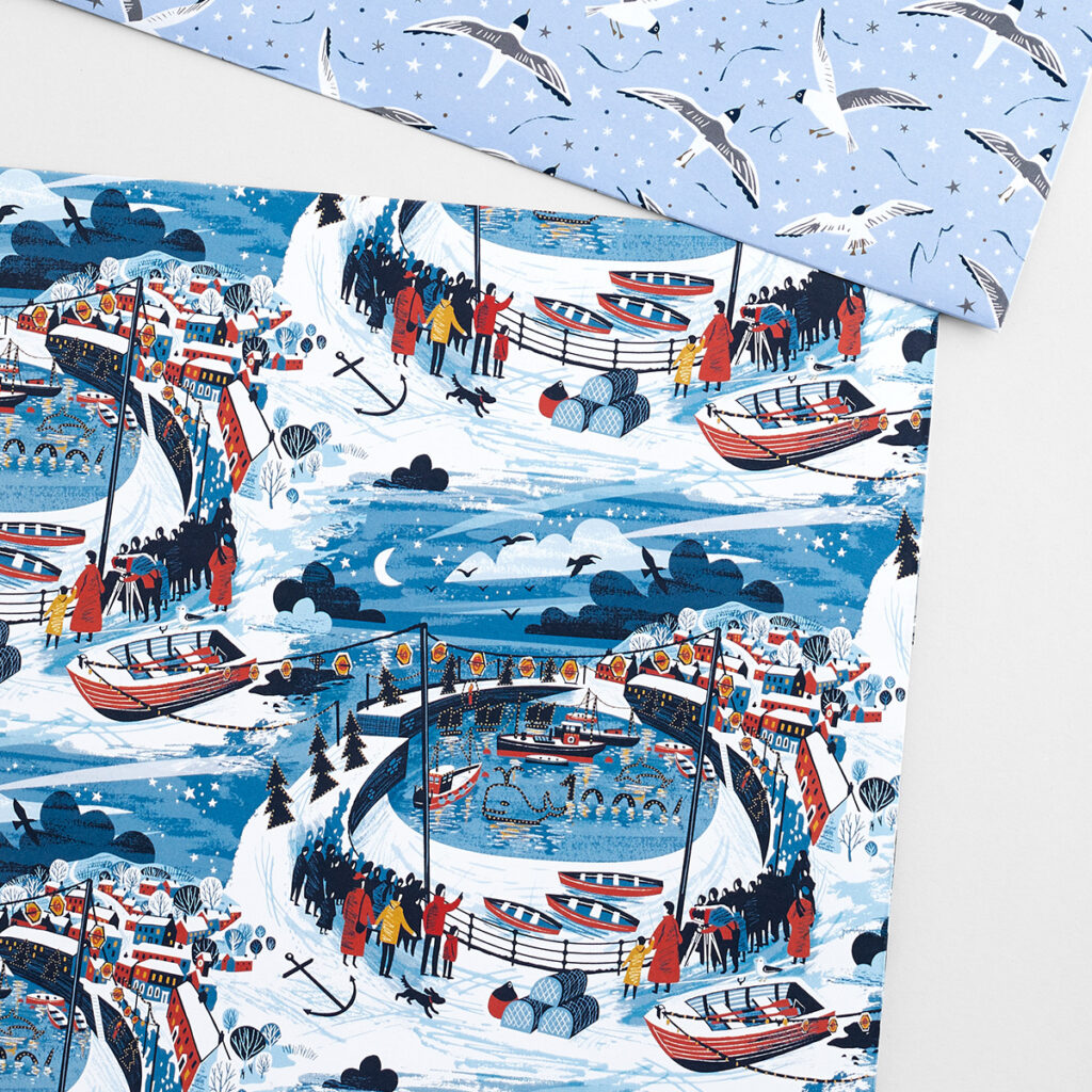 Mousehole Lights Cornwall wrapping paper by illustrator Matt Johnson