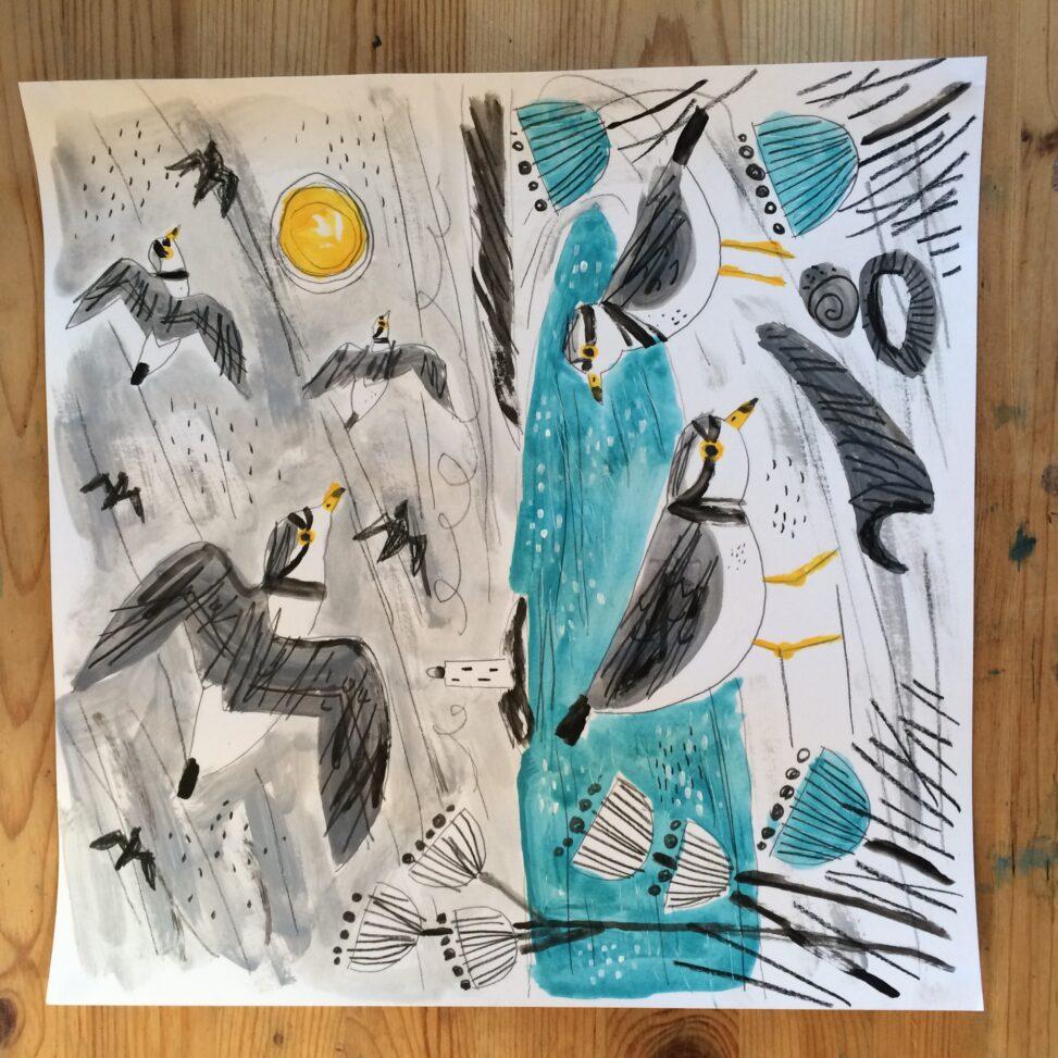 Winter plovers timelapse painting by Matt Johnson