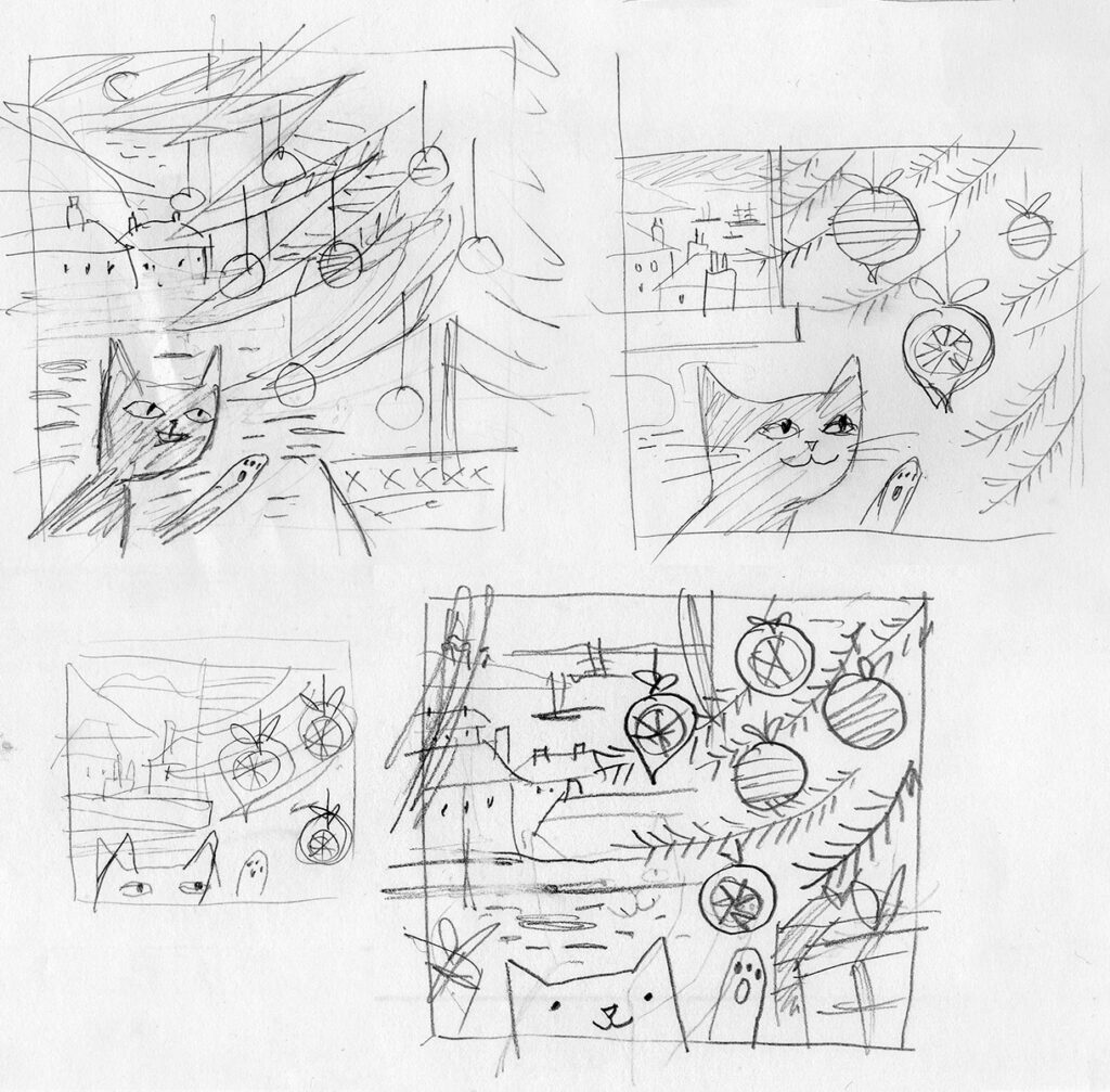 Rough sketches for bauble cat illustration by Matt Johnson