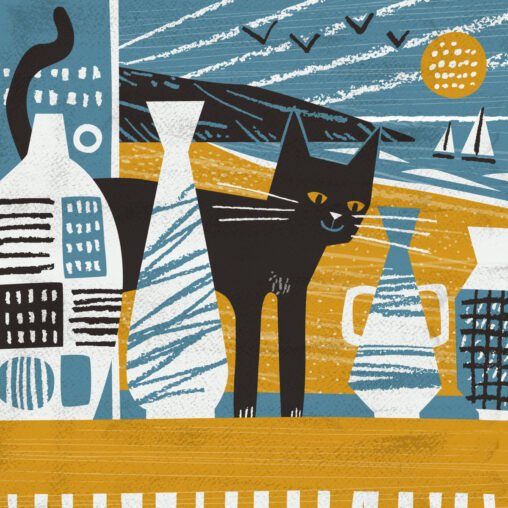 Black cat and St Ives pottery illustration by Matt Johnson